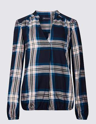 Marks and Spencer Checked Notch Neck Long Sleeve Blouse