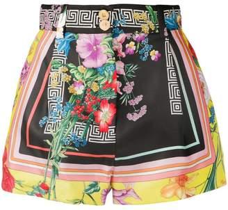 Versace floral Greca print shorts
