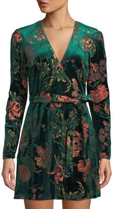 Alexia Admor Floral Embroidered Surplice-Neck Velvet Wrap Dress