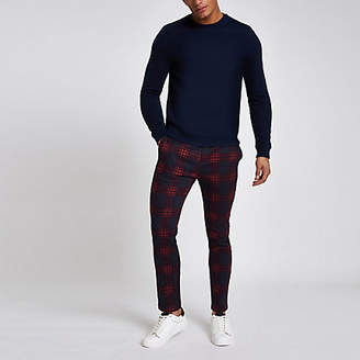 River Island Red check skinny chino pants