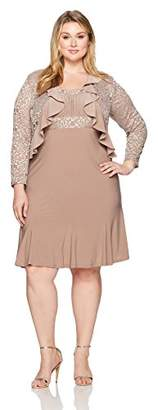 R & M Richards R&M Richards Women's Plus Size Two PCE Ruffle Jacket Over a Solid Dress