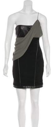 Alexander Wang Chiffon-Trimmed Leather Dress