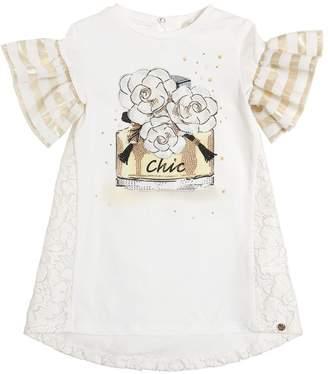 Chic Cotton Jersey & Lace Dress