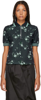 Kenzo Navy Floral Zip Polo