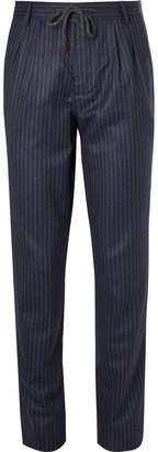 Brunello Cucinelli Navy Chalk-Striped Wool Drawstring Suit Trousers