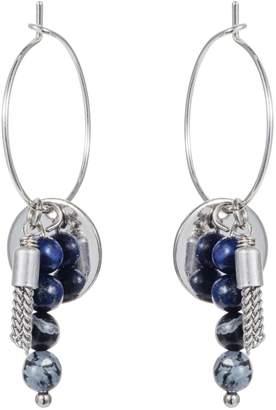 Nadia Minkoff - Hoop Cluster Semi Precious Earring Silver with Blue & Black
