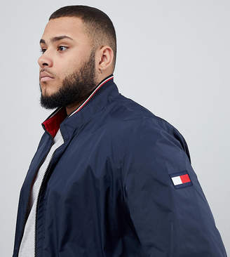 Tommy Hilfiger Big & Tall reversible lightweight bomber jacket sleeve & chest flag logo in navy/red