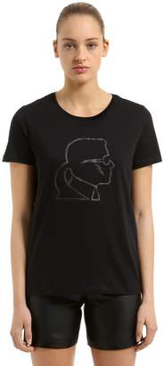 Karl Lagerfeld Rubber Print Cotton Jersey T-Shirt