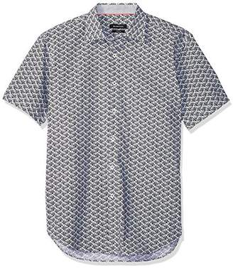 Bugatchi Men's Shaped Black Print Point Collar Short Sleeve Shirt