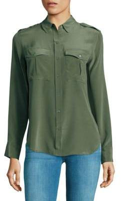 True Religion Long Sleeve Silk Military Shirt