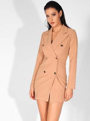 Shein LOVE&LEMONADE Solid Double Breasted Blazer Dress