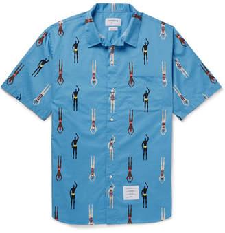 Thom Browne Printed Cotton Shirt - Light blue