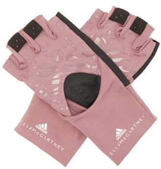 adidas by Stella McCartney Leopard Print Fingerless Performance Gloves - Womens - Pink