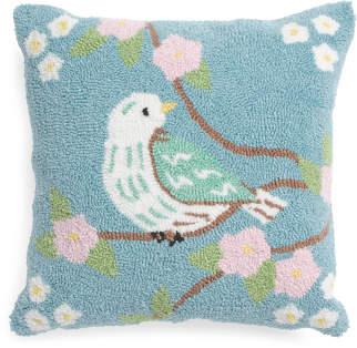18x18 Flourish Bird Hand Hooked Pillow