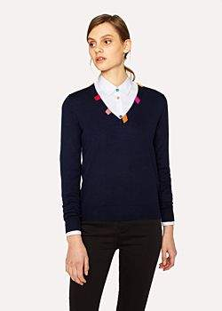 Paul Smith Women's Navy Wool V-Neck Sweater With Striped Collar