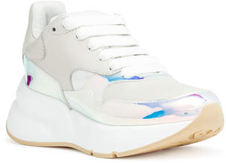 Alexander McQueen Holographic and off white leather sneaker