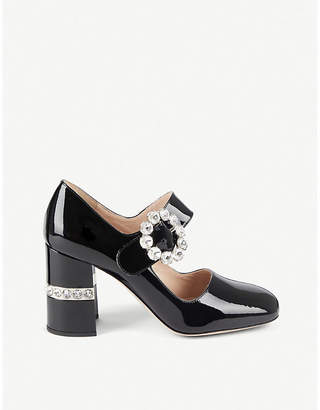 Miu Miu Crystal-embellished patent leather Mary Janes