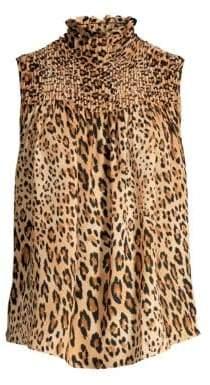 Frame Smocked Sleeveless Cheetah Print Chiffon Blouse