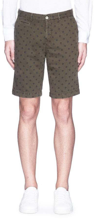 AlteaAltea Diamond print linen-cotton Bermuda shorts