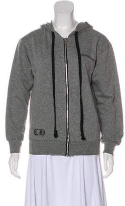 Chrome Hearts Hooded Zip-Up Sweatshirt Grey Hooded Zip-Up Sweatshirt