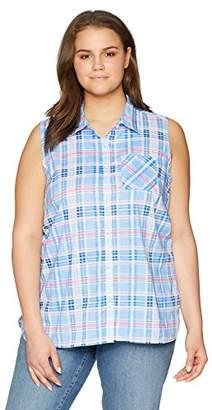 Caribbean Joe Women's Sleeveless Button Front Collared Shirt