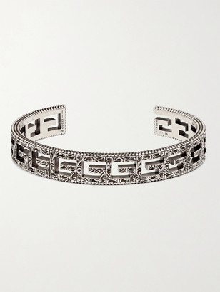 Gucci Logo-Embossed Sterling Silver Cuff - Men - Silver