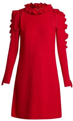 Giambattista Valli Ruffle And Bow Embellished Crepe Mini Dress - Womens - Red