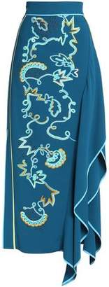 Peter Pilotto Draped Embroidered Crepe Maxi Skirt