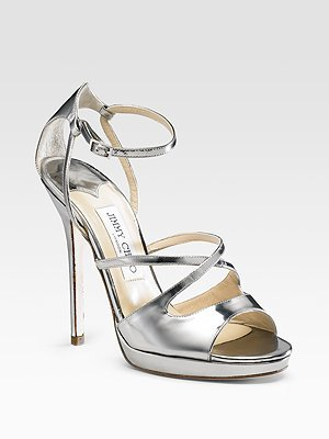 Jimmy Choo Frost Mirrored Leather Sandals