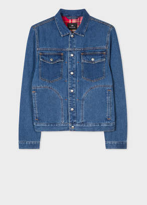 Paul Smith Men's Mid-Wash Pleat-Front Lined Denim Jacket