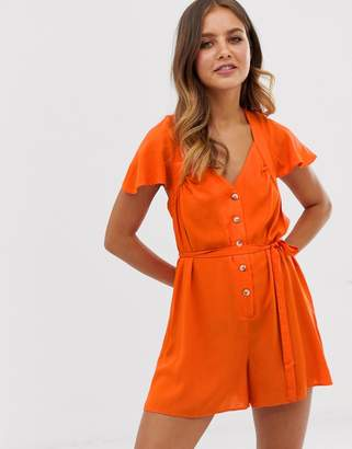 Asos Design DESIGN frill sleeve romper with cut out back