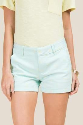 francesca's Kailyn Lemon Slice Rolled Hem Shorts - Mint