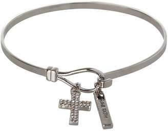 BCBGeneration Silvertone Cross Charm Bracelet