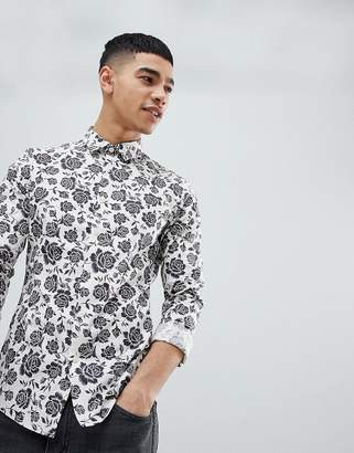Asos Design Skinny Fit Shirt In Floral Print