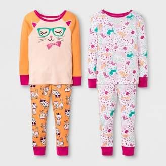 Cat & Jack Toddler Girls' Kitty 4pc Pajama Set Orange