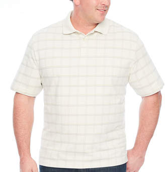 Van Heusen Printed Windowpane Polo Short Sleeve Checked Knit Polo Shirt Big and Tall