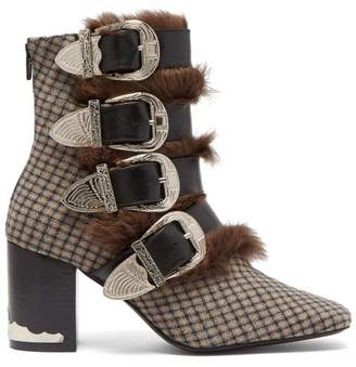 Toga Buckled Faux Fur Trimmed Wool Ankle Boots - Womens - Grey Multi