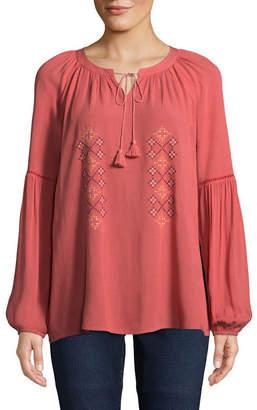 ST. JOHN'S BAY Long Sleeve Split Crew Neck Woven Embroidered Blouse