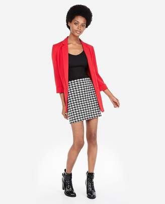 Express Petite High Waisted Houndstooth Straight Mini Skirt