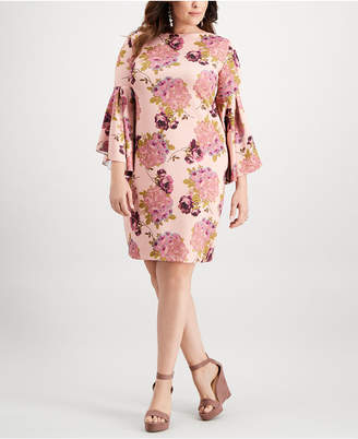 Betsey Johnson Plus Size Floral Bell-Sleeve Dress