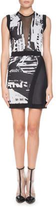 Balmain Sleeveless Newspaper-Print Sheath Mini Cocktail Dress