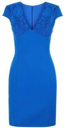La Perla Essentials Hot Blue Virgin Wool Dress With Embroidery