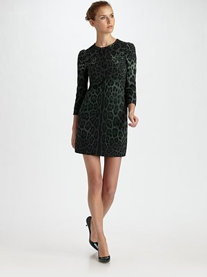 Three-Quarter Sleeve Leopard Dress