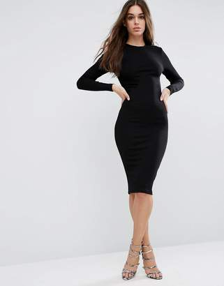 ASOS Midi Body-Conscious Dress in Rib with Long Sleeves $28 thestylecure.com