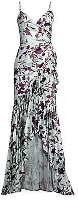 Flor et. al Women's Heme Floral Charmeuse High-Low Gown - Size 0