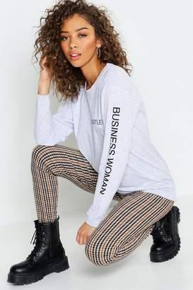 boohoo Hustler Long Sleeve Slogan T-Shirt