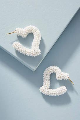 Sachin + Babi Beaded Mini Heart Hoop Earrings