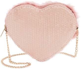 Capelli New York Faux Fur Heart Crossbody Bag
