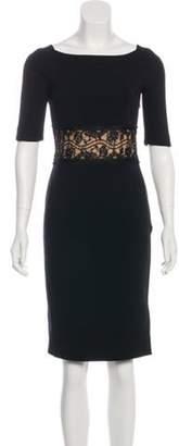 Emilio Pucci Lace-Paneled Knee-Length Dress Black Lace-Paneled Knee-Length Dress