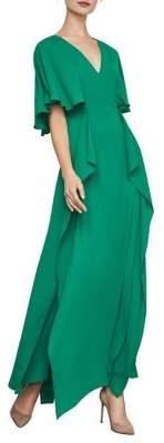 BCBGMAXAZRIA Cape-Sleeve Ruffle Gown